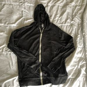 Charcoal light weight zipup hoodie from Threadfast